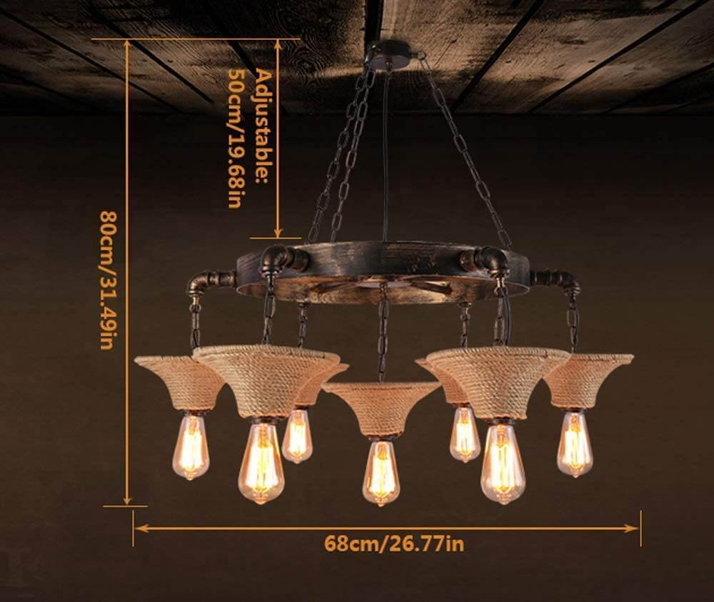 BOSSLV Vintage Industrial Chandeliers, Antique Hemp Rope Metal Pendent Lamps 7 Light Restaurant Bar Cafe Club E27 Hanging Lamps Ceiling Lights