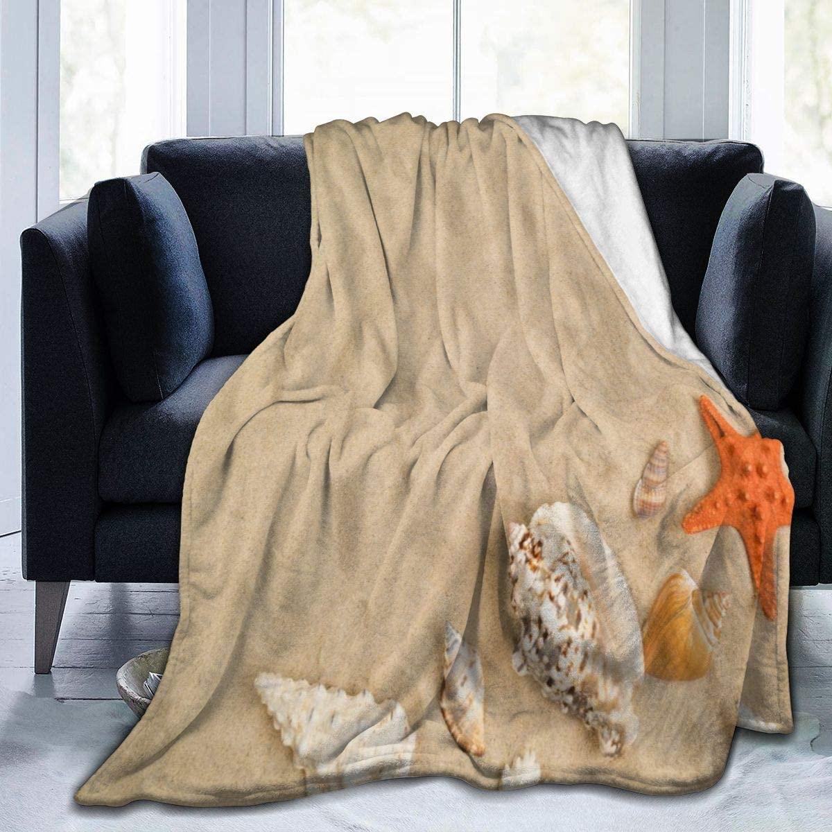 Micro Fleece Plush Soft Baby Blanket Starfish Seashells On Sand Beach Summer Fluffy Warm Toddler Bed/Crib Blanket Lightweight Flannel Daycare Nap Kids Sleeping Tummy Time Throw Blanket Girls Boy Kid/B