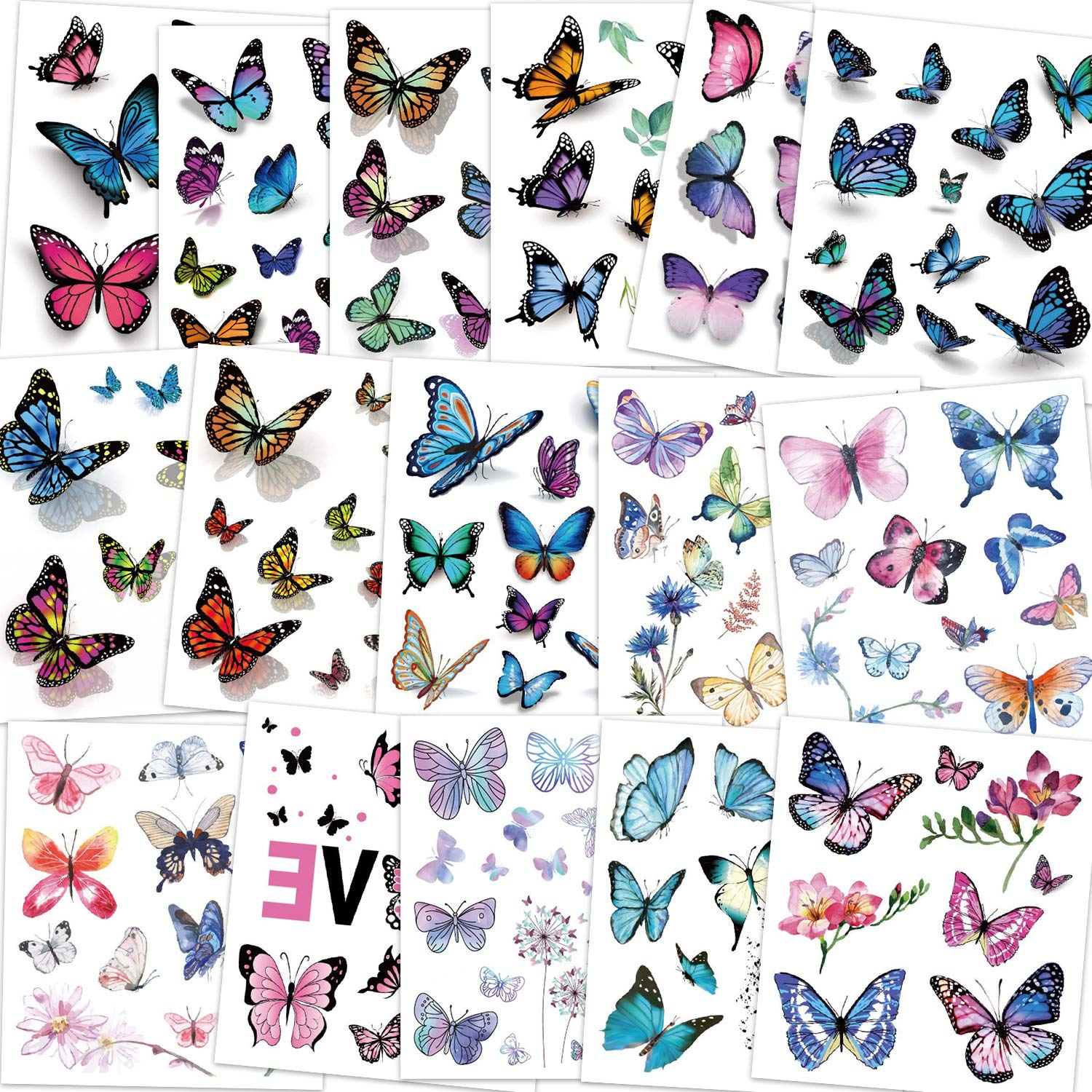 Konsait Kids Tattoos Butterfly Temporary Tattoos, Fake Tattoo Sticker for Girls Kids Women Children's Birthday Party Bag Filler Gift Birthday Girls Party Favors, 16 Sheets