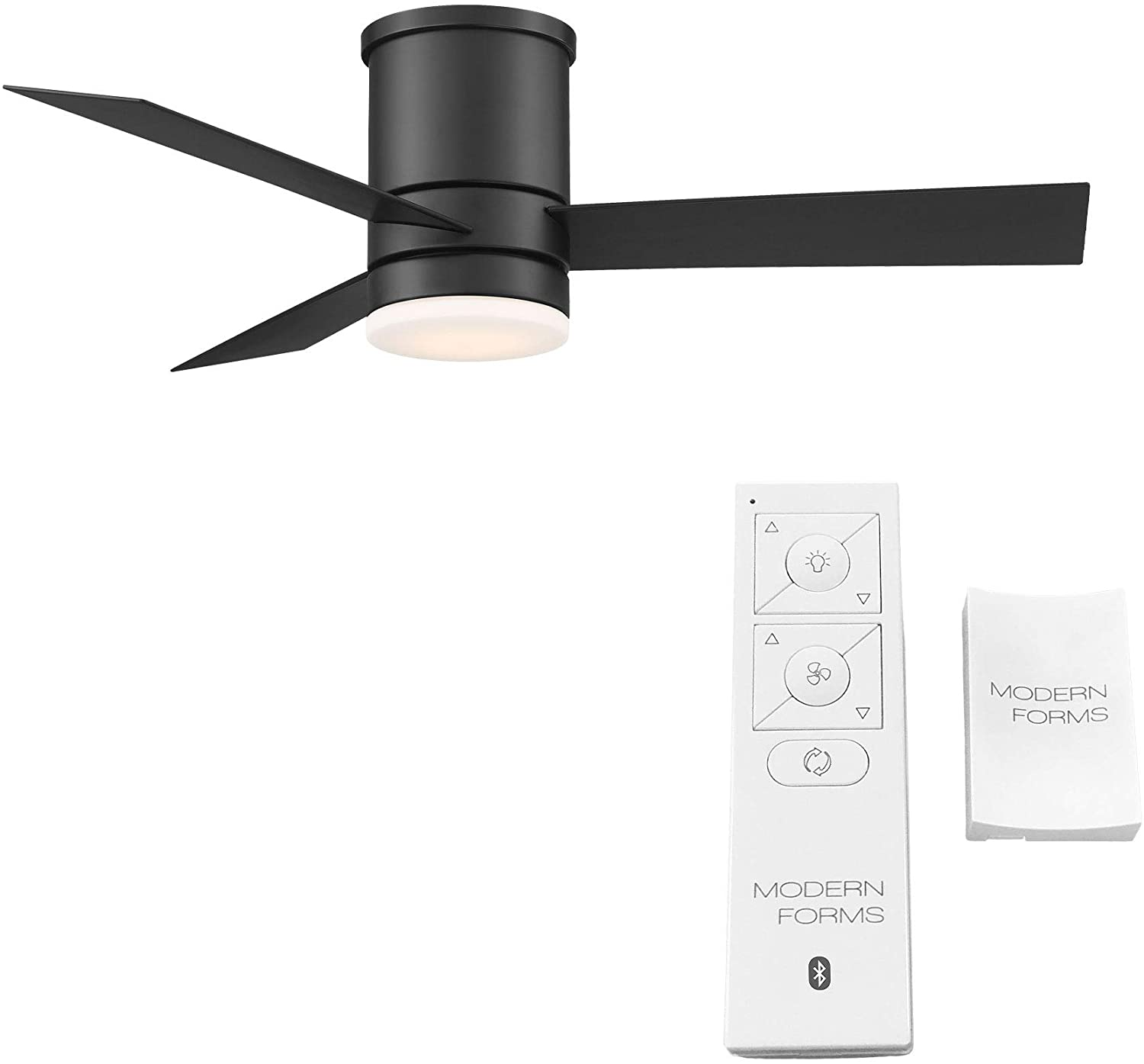 Modern Forms FH-W1803-44L-27-MB Axis Flushmount Smart Home Ceiling Fans, 44in Blade Span, Matte Black