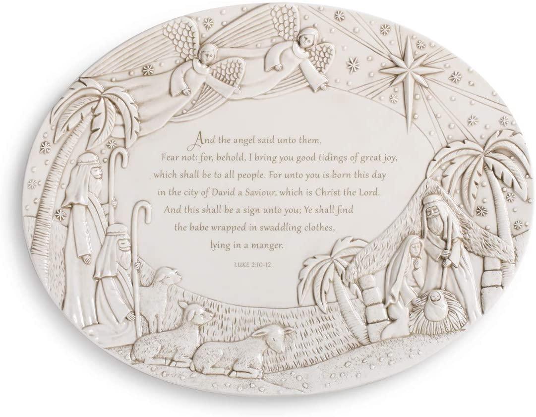Nativity Scene Cream 17 x 13 Ceramic Earthenware Christmas Serving Platter