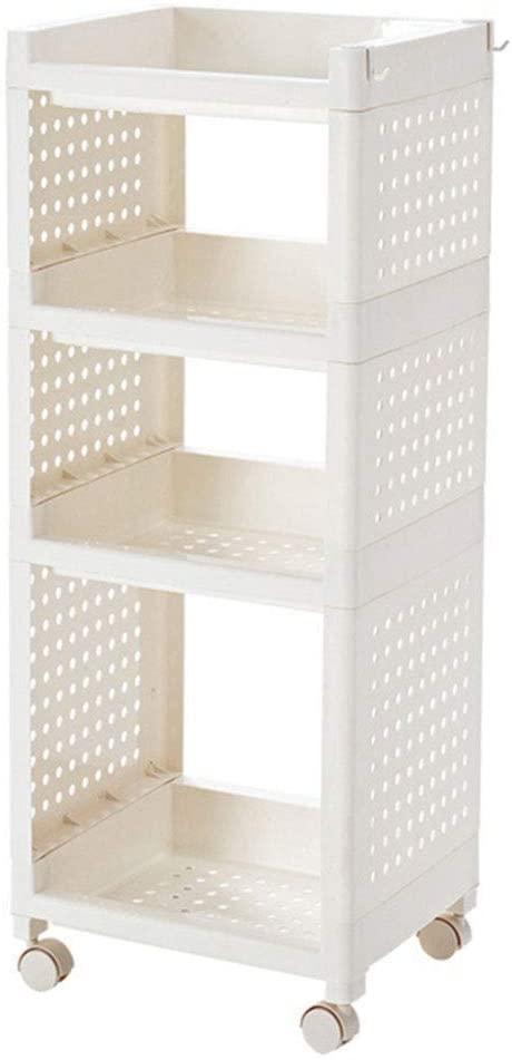 Mr. Bathroom Bathroom Shelf Shower Organiser Punch Free Mobile Floor-Standing Multifunction Plastic Hook Up Kitchen Bathroom 3/4 Tiers (Color : 35.5x29.5x95cm)