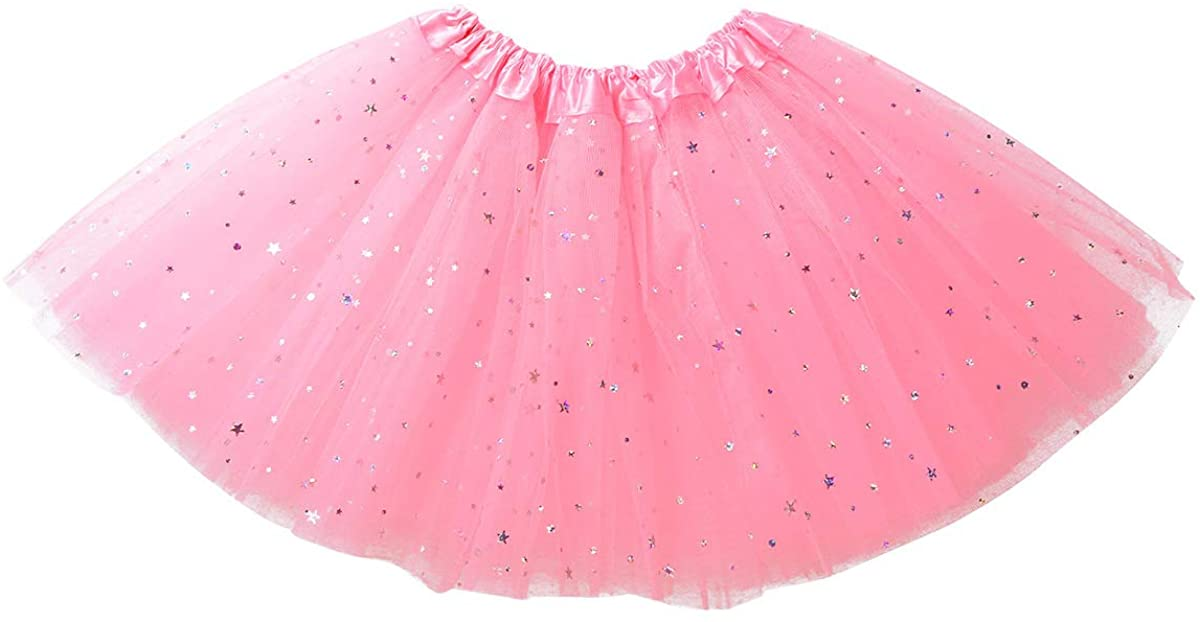 CHICTRY Kids Toddler Girls 3 Layers Sparkle Tutu Skirt Star Sequins Tulle Birthday Dance Party Skirts Princess Dress up