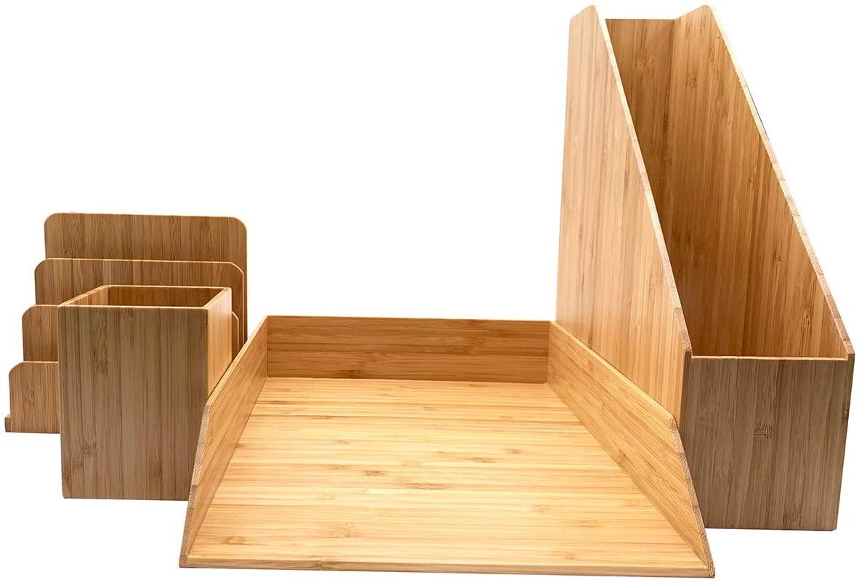 Bamboo Office Desktop Document Paper Tray,File Letter Folder Sorter,Pen Pensil Cup, Magazines Catalog Holder Organizer 4pcs Set