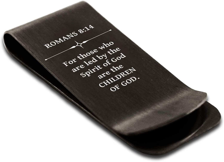 Stainless Steel Children of God Romans 8:14 Money Clip Credit Card Holder