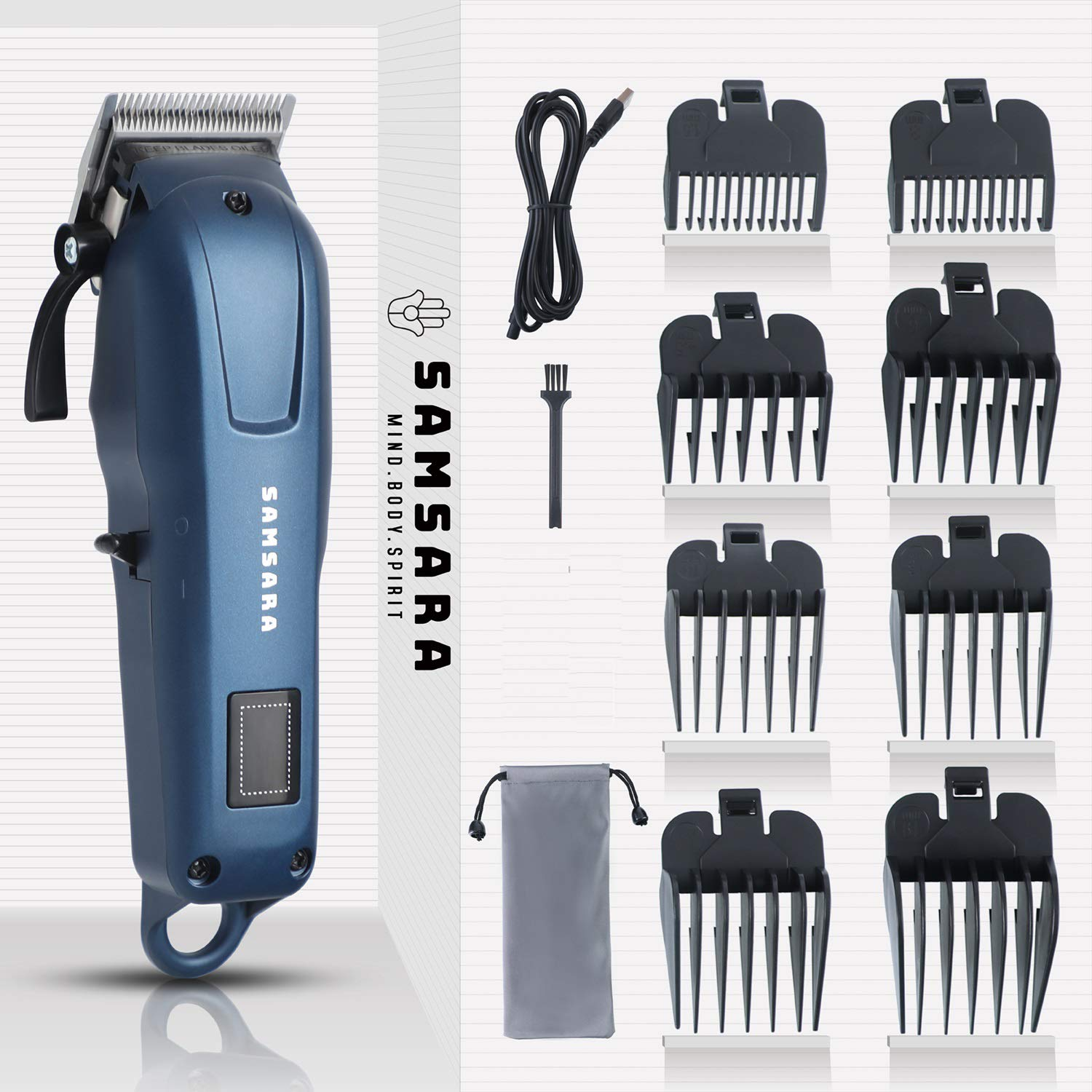 SAMSARA Classic Hair Clippers for Men, Cordless Hair Clippers Set Professional Hair Trimmer Cuttings Kit with 8 Combs and Carrying Bag, Dark Blue