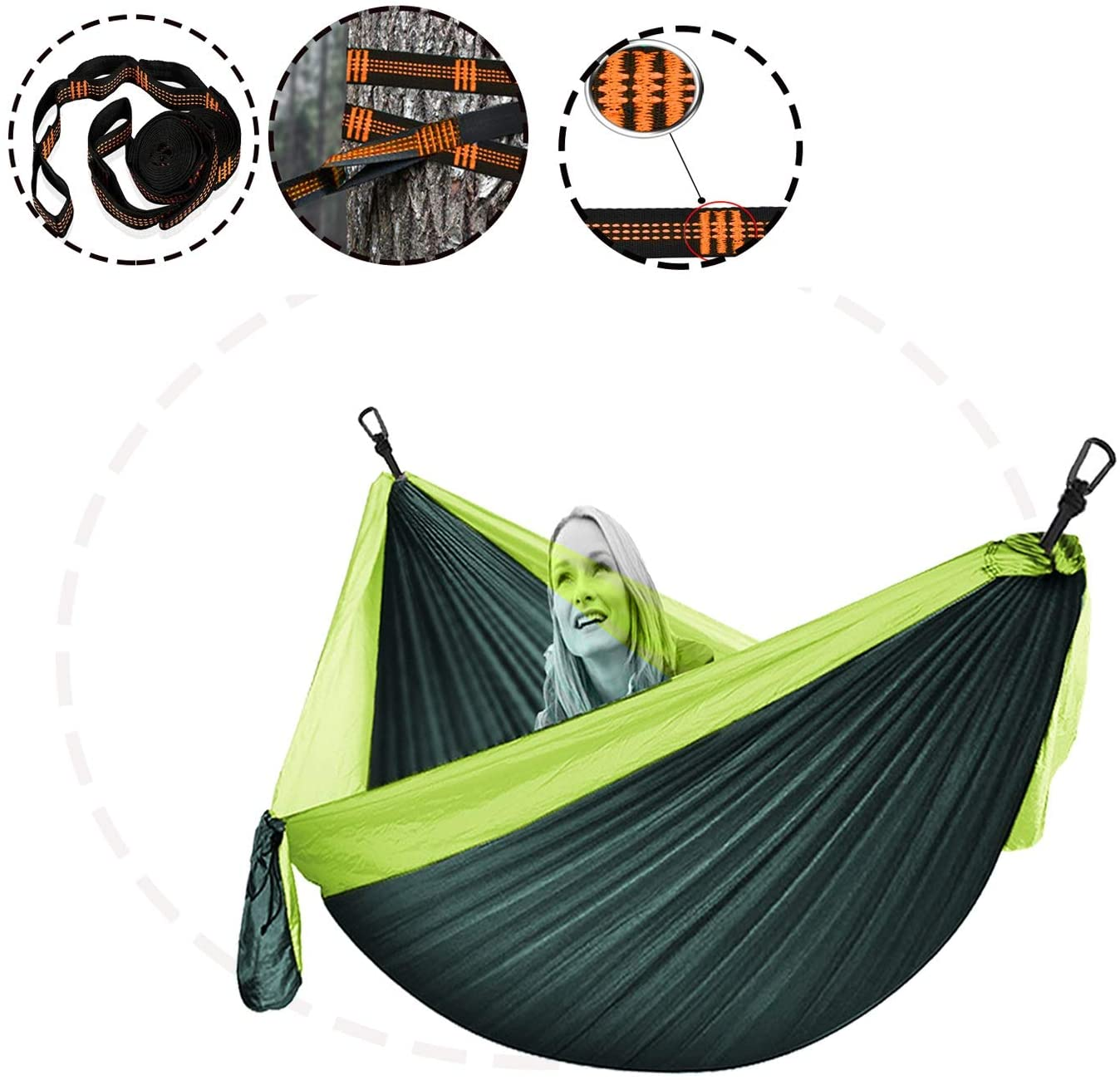 XXJF Portable Hammocks with 2 Tree Straps & Carabiners Reinforced,not to Tear Single Portable Hammocks Lightweight Nylon Parachute Fabric for Backpacking, Camping, Travel, Beach, Yard.