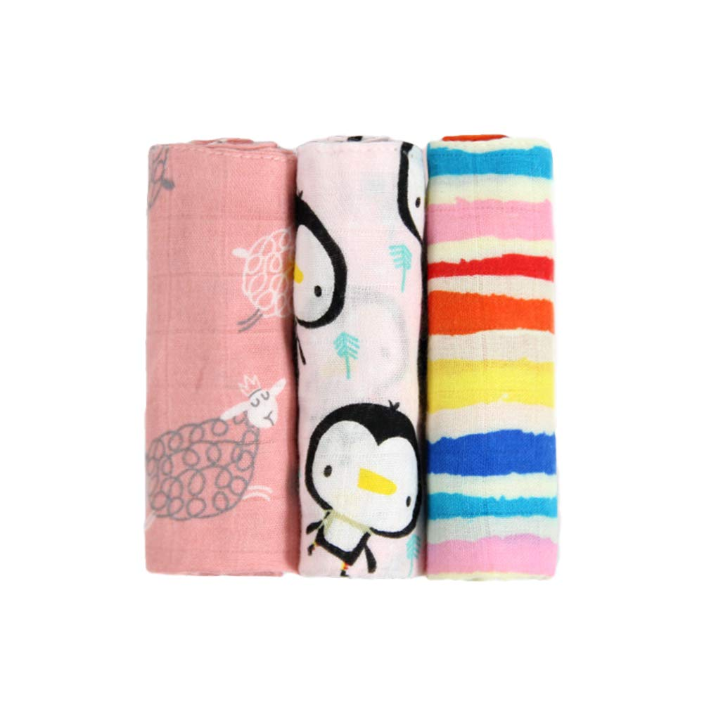 Muslin Baby Washcloths Set -100% Natural Cotton Super Soft Infant Face Towel - Reusable Wipes for Sensitive Skin-Baby, 3-Pack (B, 2831cm)