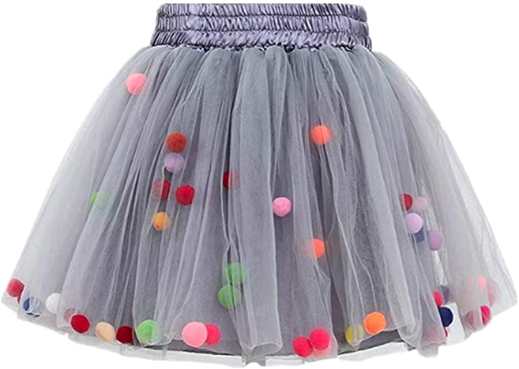 Bubble Skirt with Little Colorful Puff Balls Tutu Skirts Kids 4 Layers 3D Mini Size M