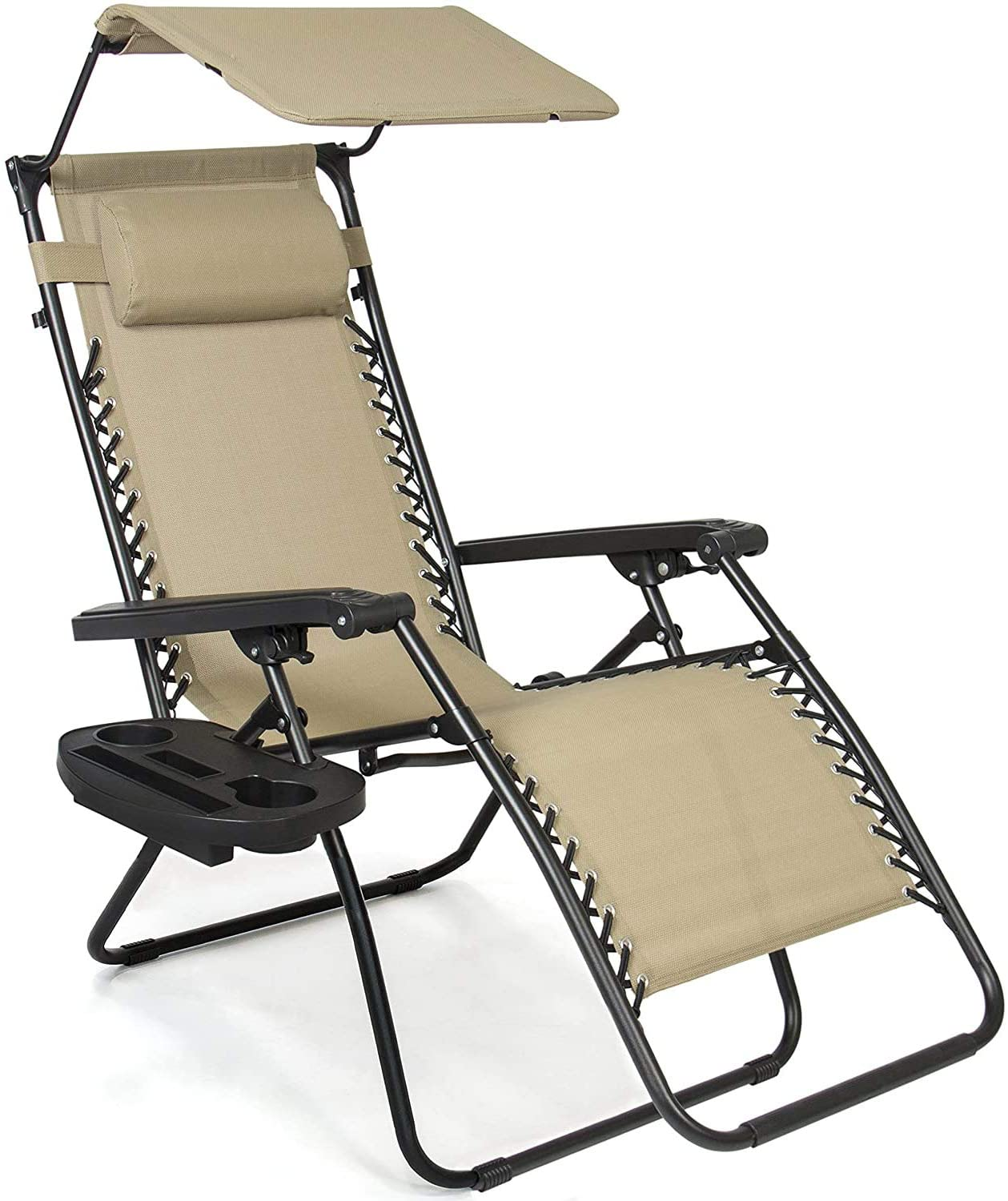 XKRSBS Folding Zero Gravity Recliner Lounge Chair w/Canopy Shade and Cup Holder Tray