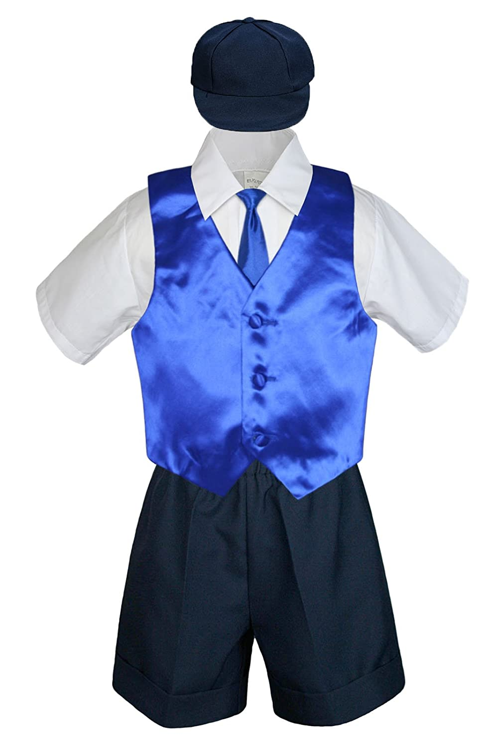 Leadertux 5pc Baby Toddler Boys Royal Blue Vest Necktie Set Navy Shorts Hat S-4T (XL:(18-24 months))