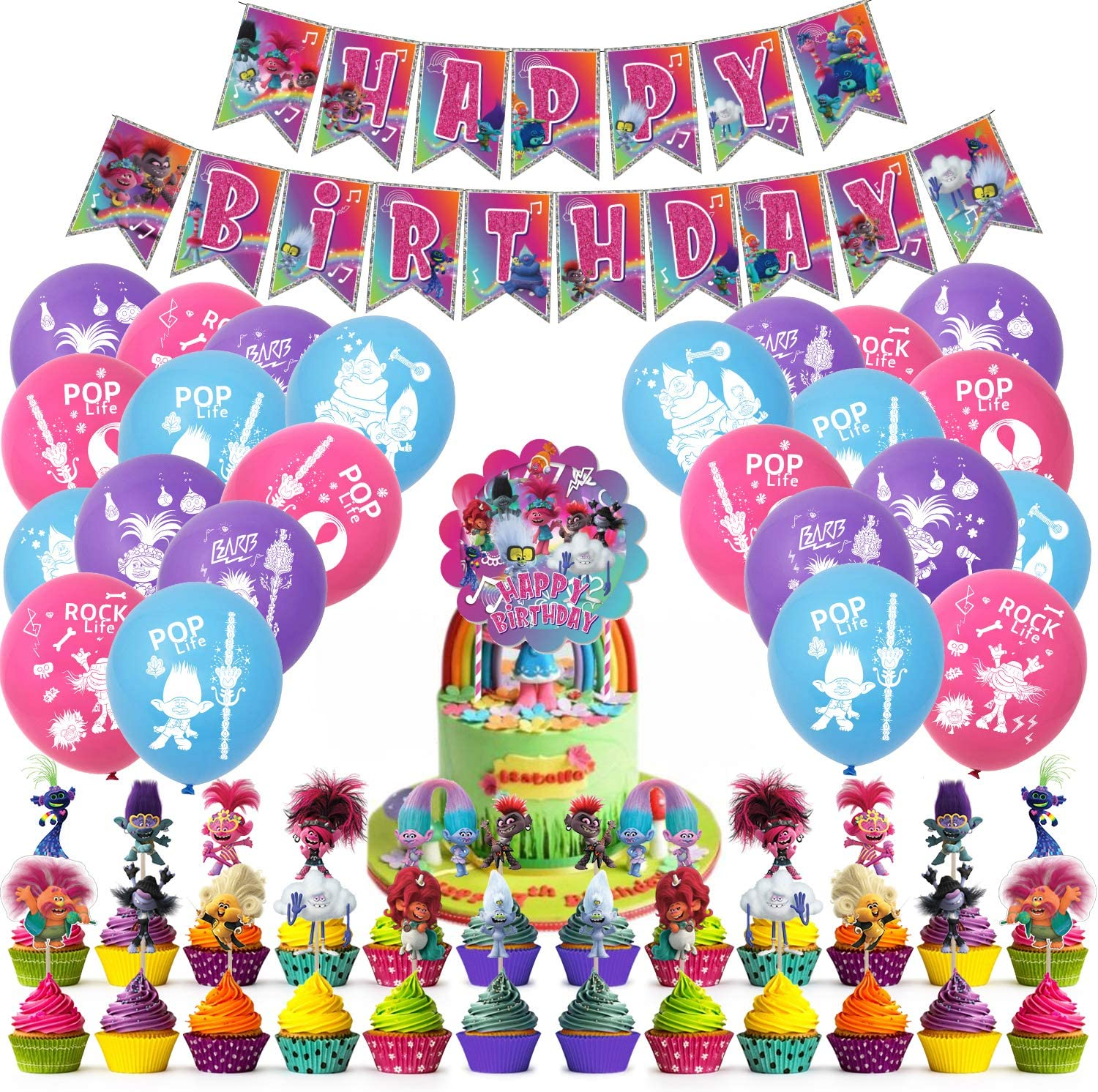 Nelton Birthday Party Supplies For Trolls World Tour Includes Banner - Cake Topper - 24 Cupcake Toppers - 22 Balloons