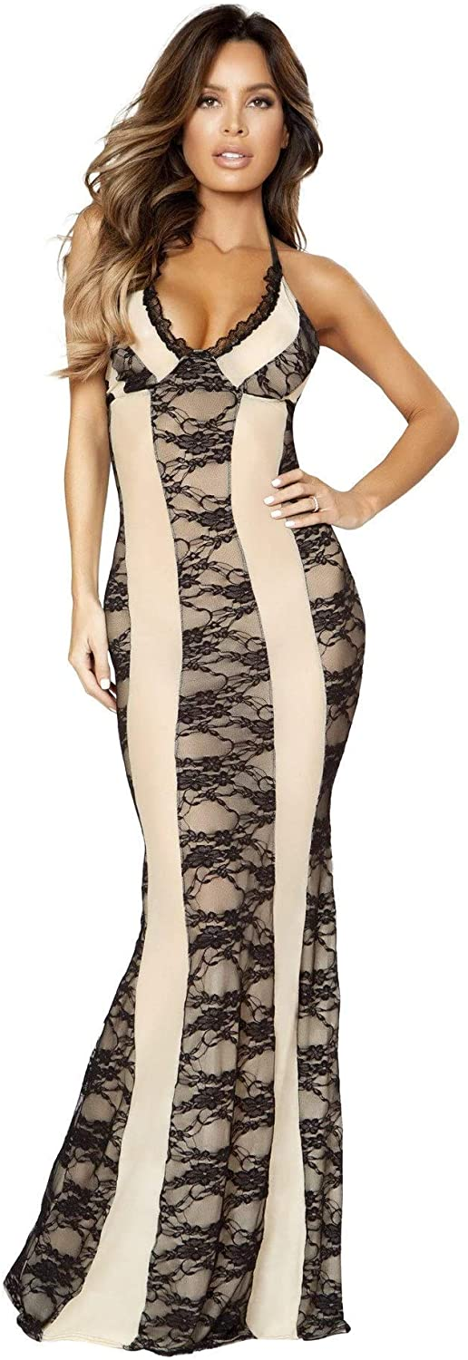 Sexy Plus Size Full Figure Two Tone Lace Long Gown