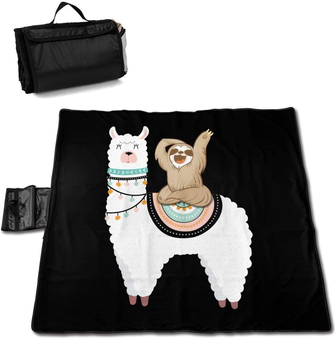 Kelo Sloth Riding Llama Portable Printed Picnic Blanket Waterproof 59x57(in)