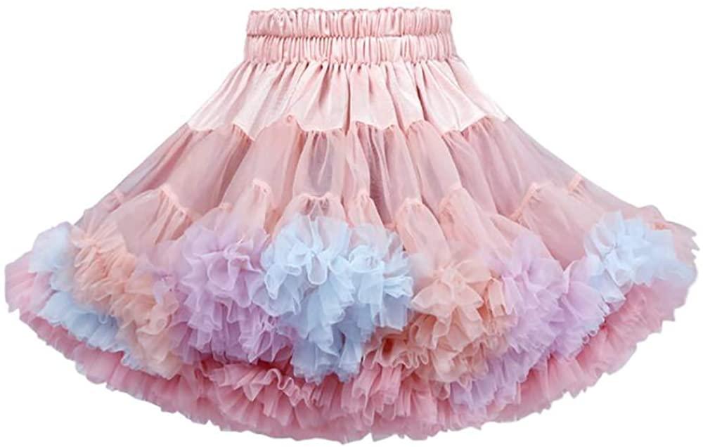 Tutu Skirts for Girls Toddler Ballet Skirt Classic Layers Tulle Tutu Skirt for Kids,Colorful (120cm)
