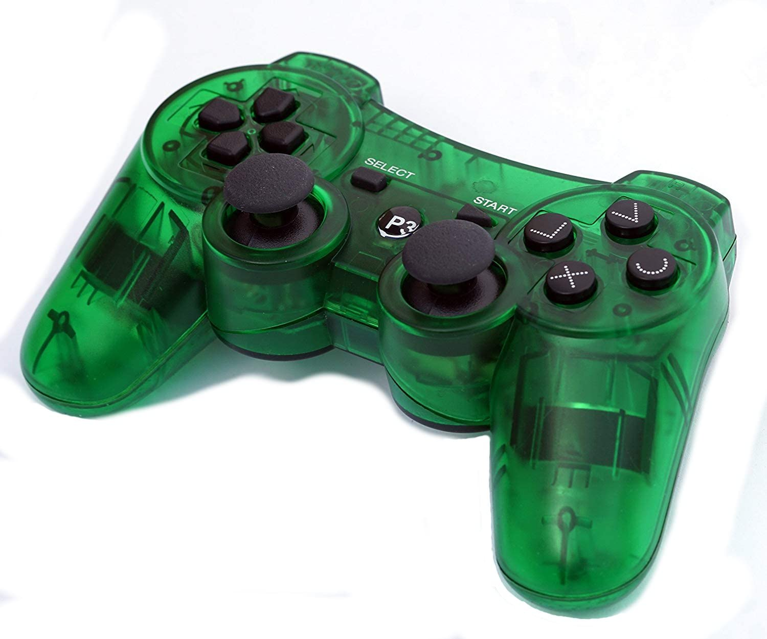 PomeMall Transparent Wireless Remote PS3 Controller Gamepad for use with Playstation 3 (Green)