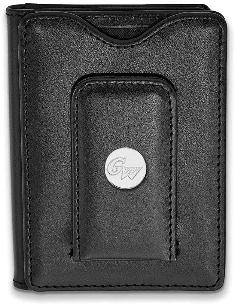 Solid 925 Sterling Silver Official George Washington University Blk Leather Slim Business Credit Card Holder Money Clip Wallet - 114mm x 79mm