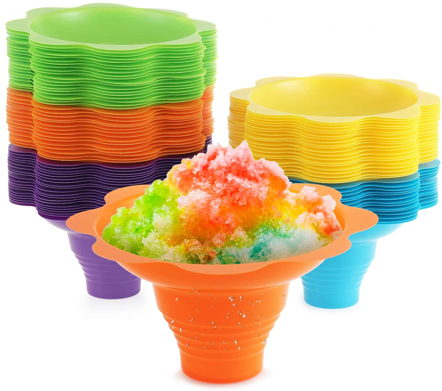 Snow cone cups [25 Pack] Flower Design, Slush cup 5 Assorted Summer Colors Sno-Cone Cup 4 oz, Great For Shaved Ice, Ice Cream
