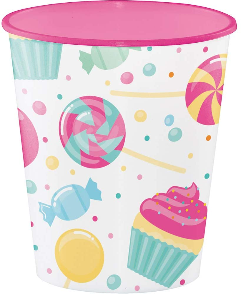 Creative Converting 324833 PLASTIC, 12 OZ SWT CUP, Pink and White