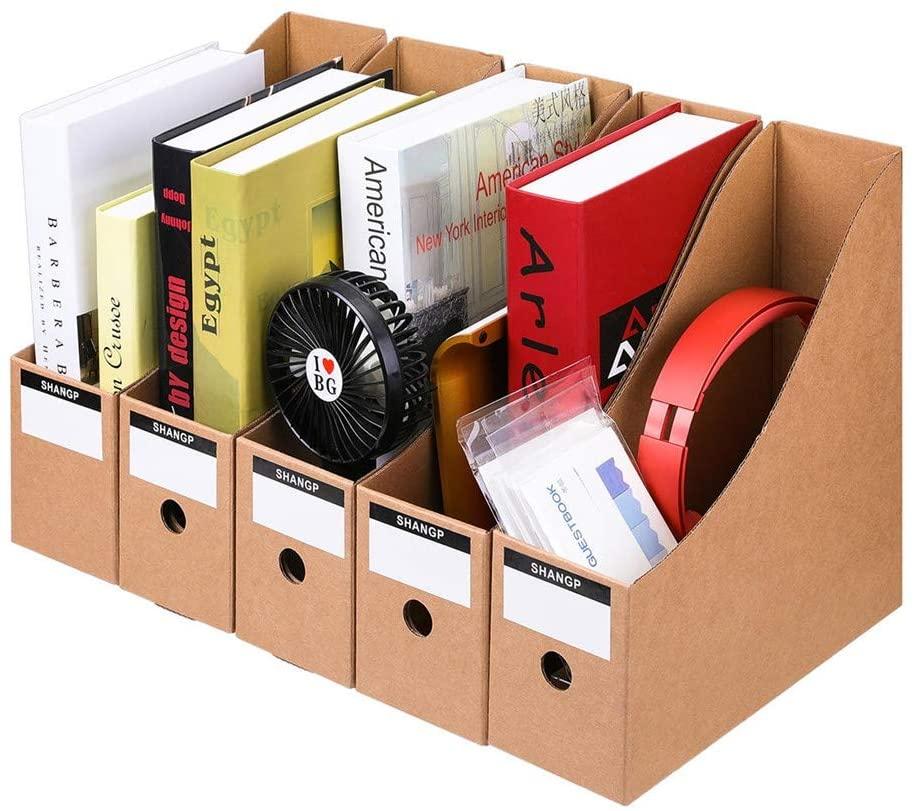 PUEEPDEE File Holder 5 Pcs/Set Magazine File Holders File Holder Desktop Documents Organizer File Basket (Color : Brown, Size : One Size)