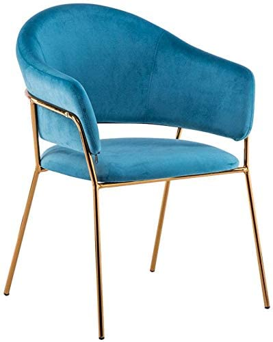 HOMRanger Iron Art Dining Chair Fashion Living Room Chair Velvet Armchair Thicker Upholstered Dressing Chair Coffee Barstool Max Load 150KG (Color:Blue)