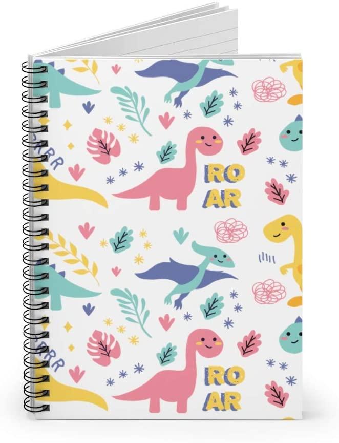 Cute Seamless Dinosaur Pattern Spiral Notebook T-rex Pterosaur Dino Ruled Notebook Diary Journal Lined Notebook Gift