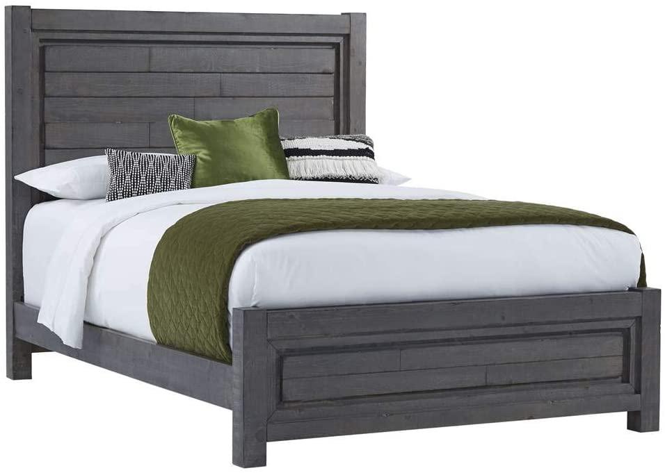 Progressive Furniture Queen Panel Bed in Distressed Dark Gray (87 in. L x 64 in. W x 59 in. H)