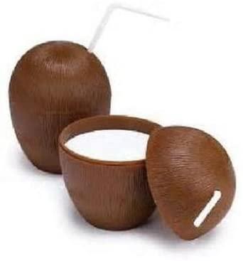 Bestbuystore US 72 Coconut Cups w/Straws 16oz Wood Style Luau Party Brown Plastic