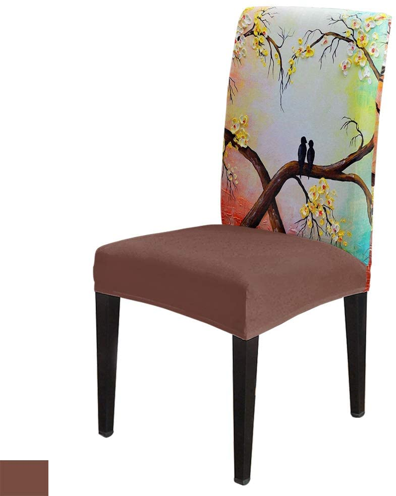 Bird Love Tree -Removable Chair Covers Set Watercolor Design Spandex Dining Chair Protector Slipcovers for Ceremony, Party, Restaurant, Hotel- 6 Pack