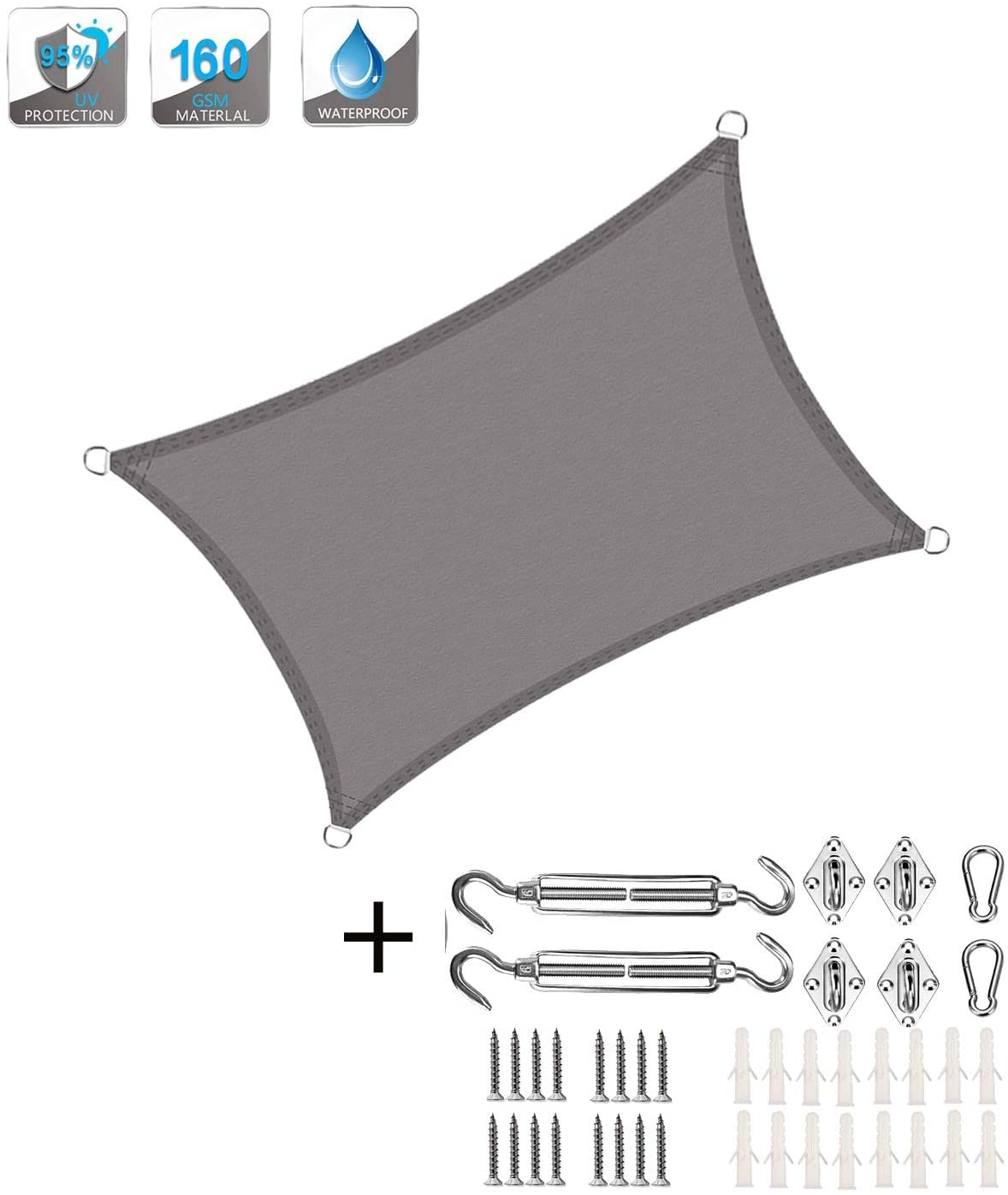XXJF Sun Shade 95 uv Blockage Water air Permeable,Durable Ropes Included Sail Canopy Awning Durable Shade Fabric  PES Polyester for Outdoor Patio Garden  Backyard (Color : Gray, Size : 5x5.5m)