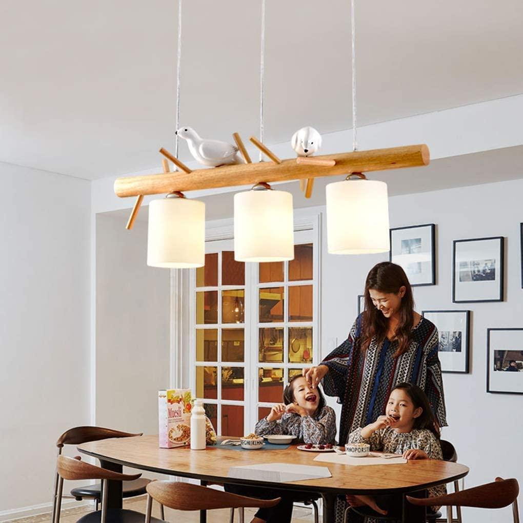 BOSSLV Pendent Lamp Creative 3-Lights Adjustable Height Hanging Lamp Elegant Parlor Dining Hall Bedchamber Study Pendant Lamp Art Wood Glass Indoor Lighting 3 13Cm E27