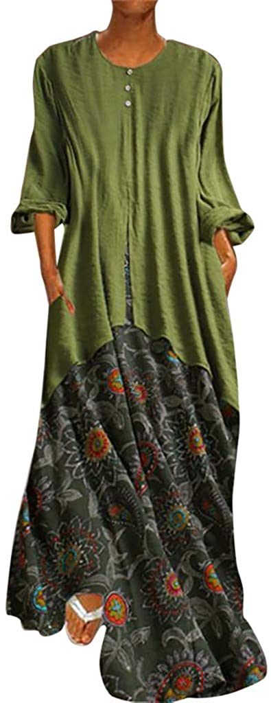 JUSTWIN Ladies Vintage Printed Fake Two-Piece Dress O-Neck Maxi Dresses Flutter Sleeves Empire Waist Long Mixi Dresses Green