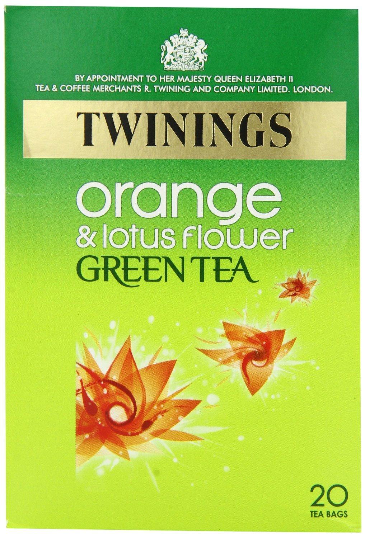 Twinings Green Tea with Orange and Lotus Flower Tea / 20 Tea Bags / 40g / 1.4oz.