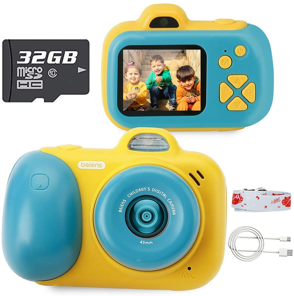 beiens Digital Video Camera for Kids, 24MP Selfie Dual Cameras, 32G SD Card, 1080P 2.0 inch HD IPS Screen, USB Charge, Best Birthday Gifts Kids Camera Toys for Girls and Boys (Green)