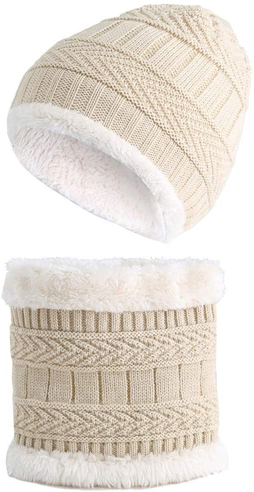 WLG 2Pieces/Set Children Knitted Hat Geometric Pattern Thicken Fleece Lining Windproof Snow Ski Beanie Cap with Collar Neck S