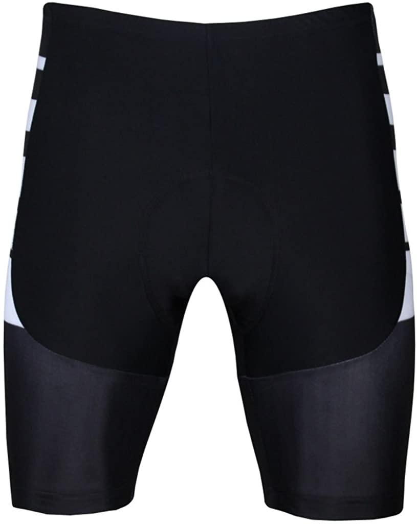 PaladinSport Men's Short Sleeve Cycling Jersey and 3D Padded Shorts Set Black Stripes