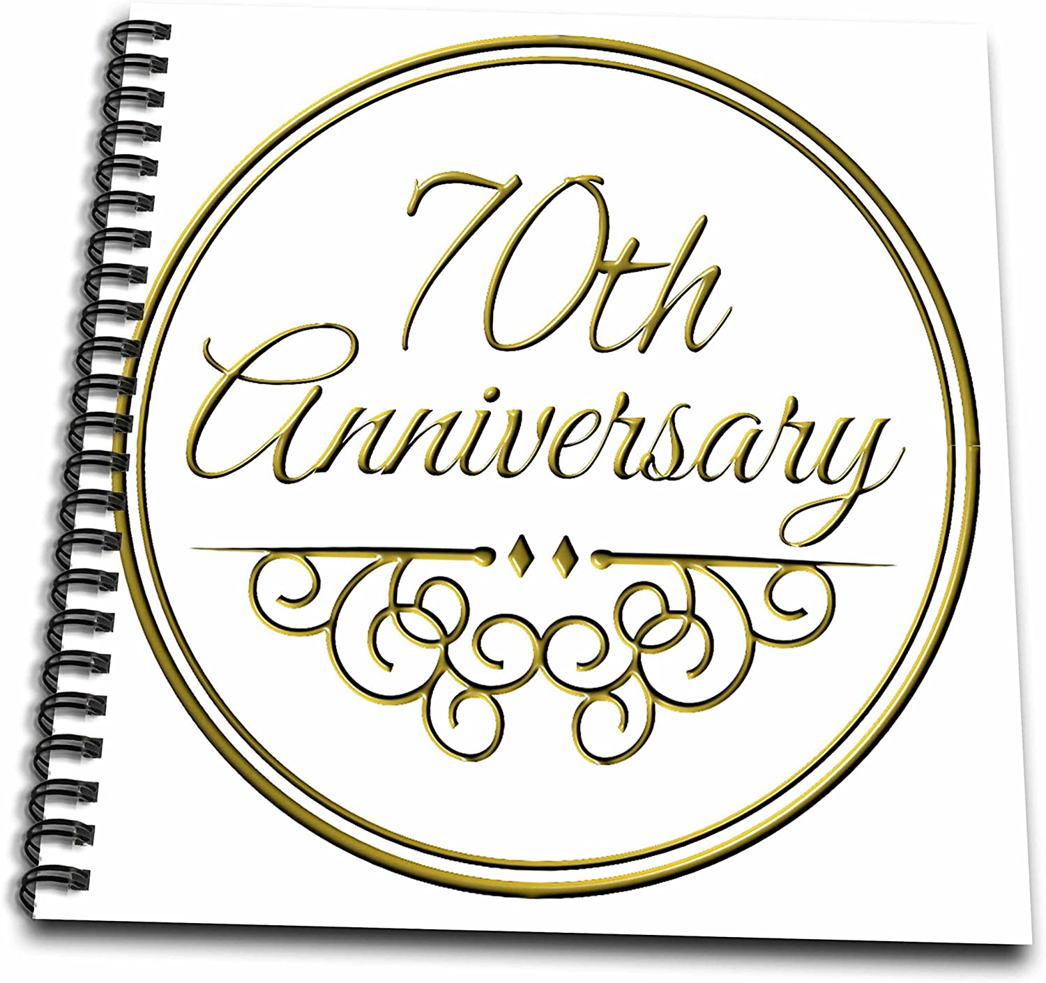 3dRose db_154512_1 70th Gold Text for Celebrating Wedding Anniversaries 70 Years Married Together Drawing Book, 8 by 8-Inch