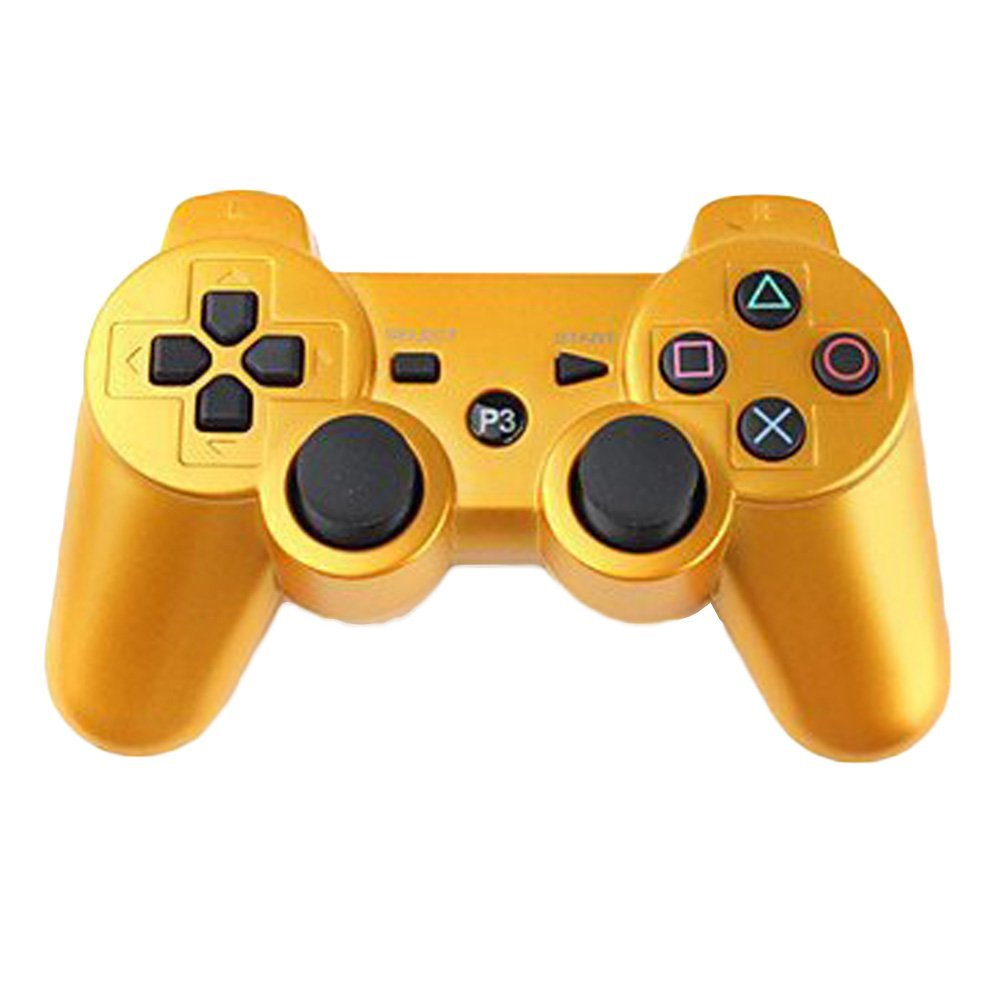New Wireless Bluetooth Six Axis Dualshock Game Controller for Sony PS3(Gold)