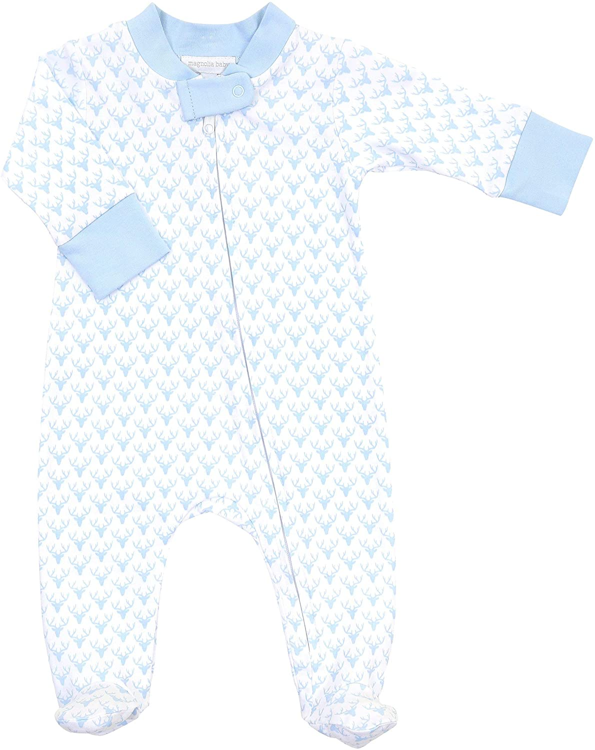 Magnolia Baby Baby Boy Sweet Little Buck Printed Zipped Footie Blue