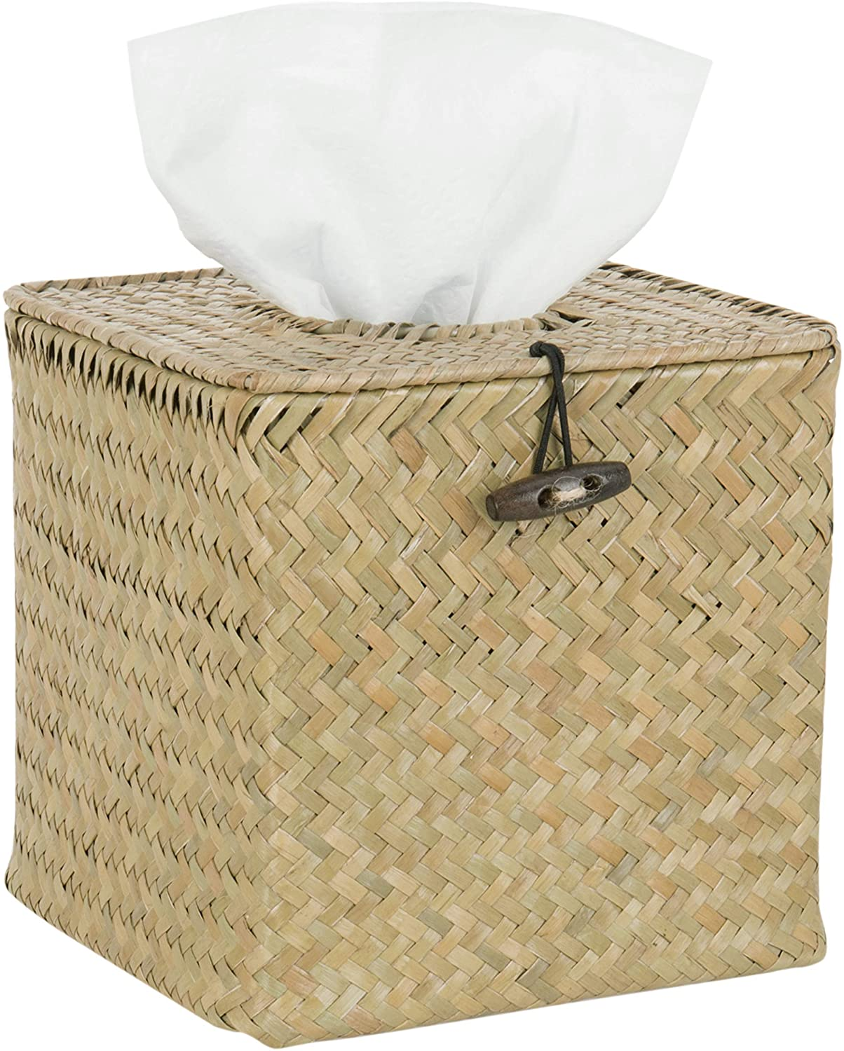 MyGift Woven Seagrass Refillable Tissue & Napkin Holder with Hinged Top Lid