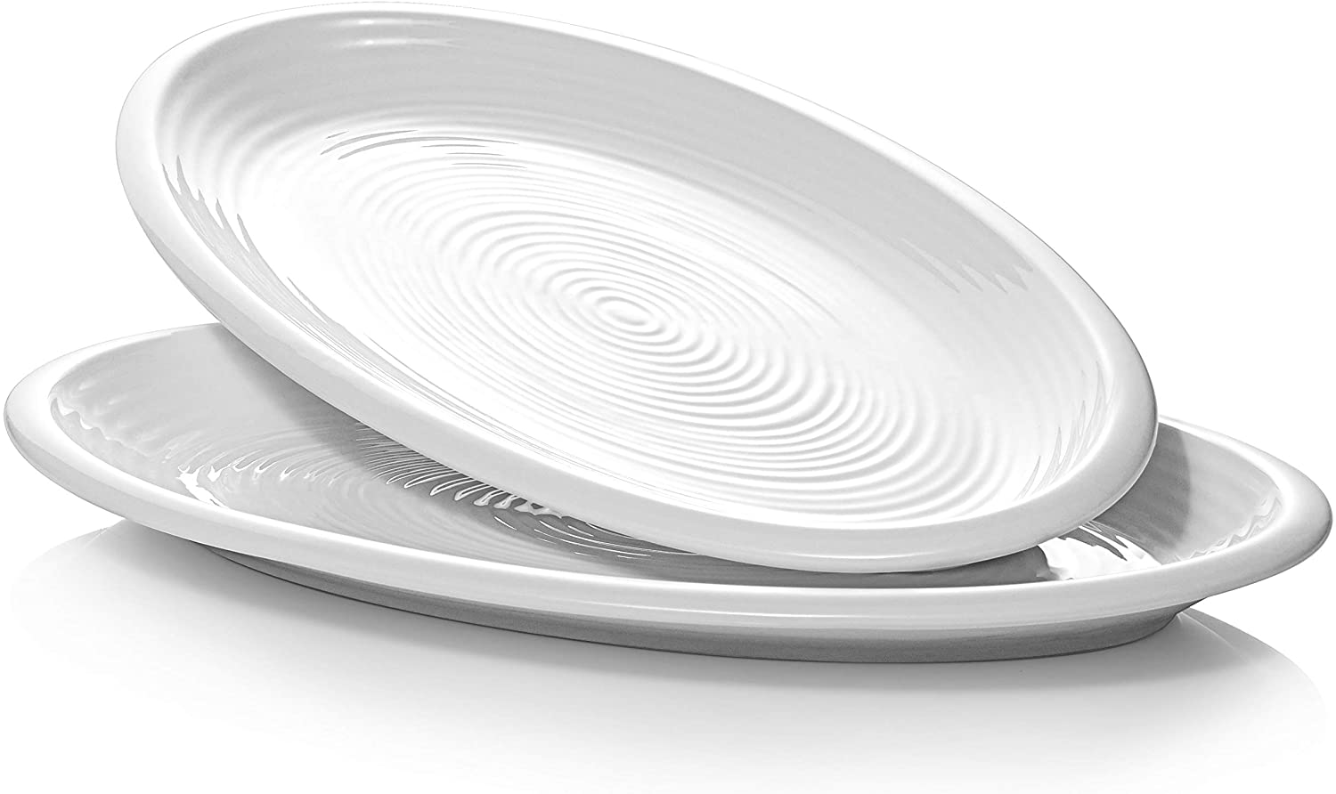 DOWAN Serving Platters - 12 Inches Oval Platters Serving Plates Porcelain White Oven Safe for Meat, Appetizers, Dessert, Food, Party, Set of 2, White