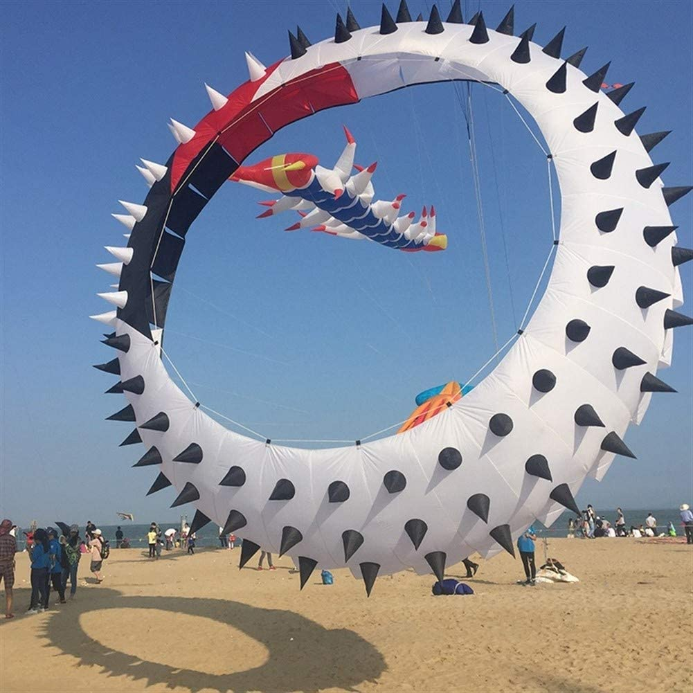 Unique and Bright Kite, Kids Kite Kites for Kids Easy to Fly with Outdoor Sports Rolling Dragon Swivel Thorn Ring Kite Pendant Exquisite and Interesting (Color : Diameter15m Thorn)