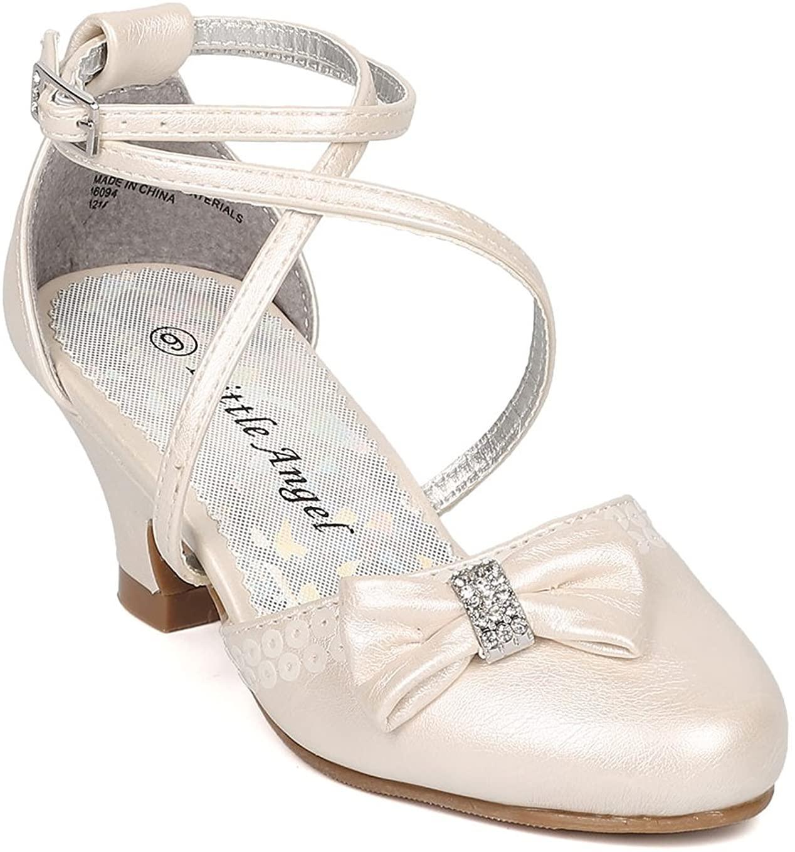 Girls Leatherette Bow Tie Ankle Strap Dress Heel HJ51