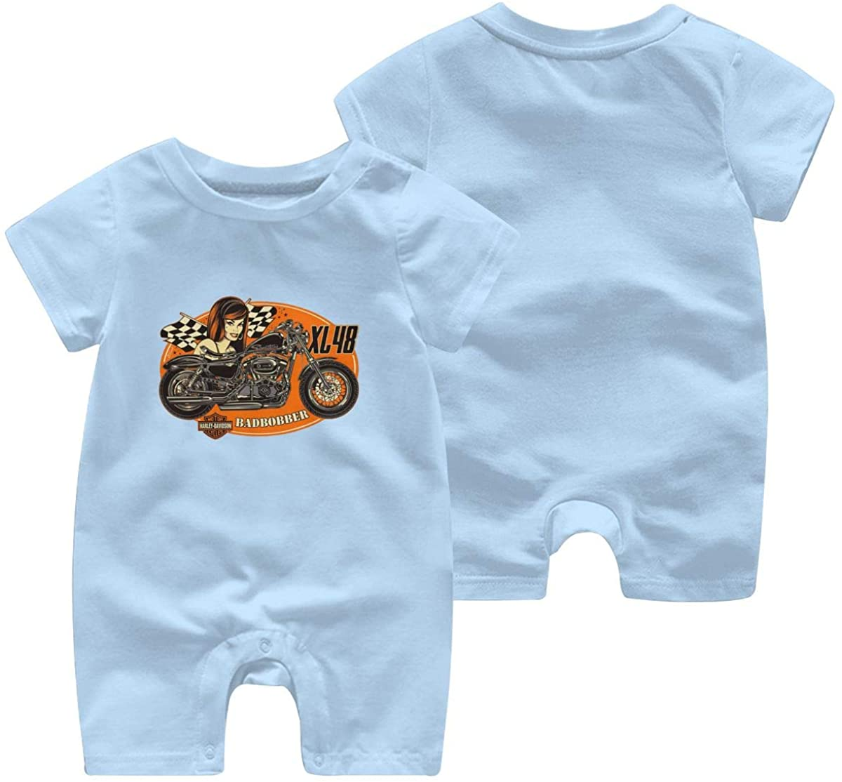 Harley Davidson One Piece Outfits Baby Solid Color Rompers with Button Kids Short Sleeve Playsuit Jumpsuits Cotton Clothing 2t Sky Blue