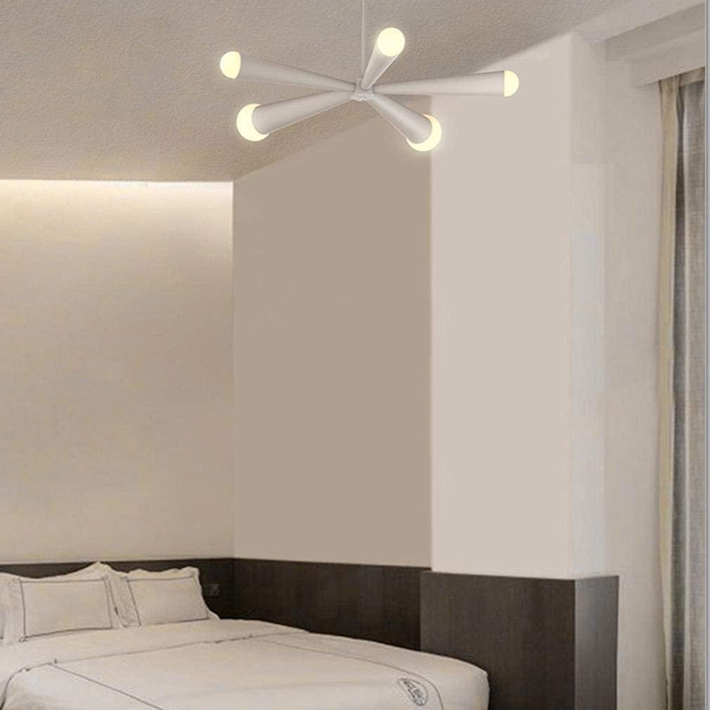 BOSSLV 39W Pendent Lamp Modern Creative 5-Lights Acrylic Chandelier Parlor Dining Hall Bedchamber Hanging Lighting Ceiling Lighting L66Cm Warm Light 3000K, White