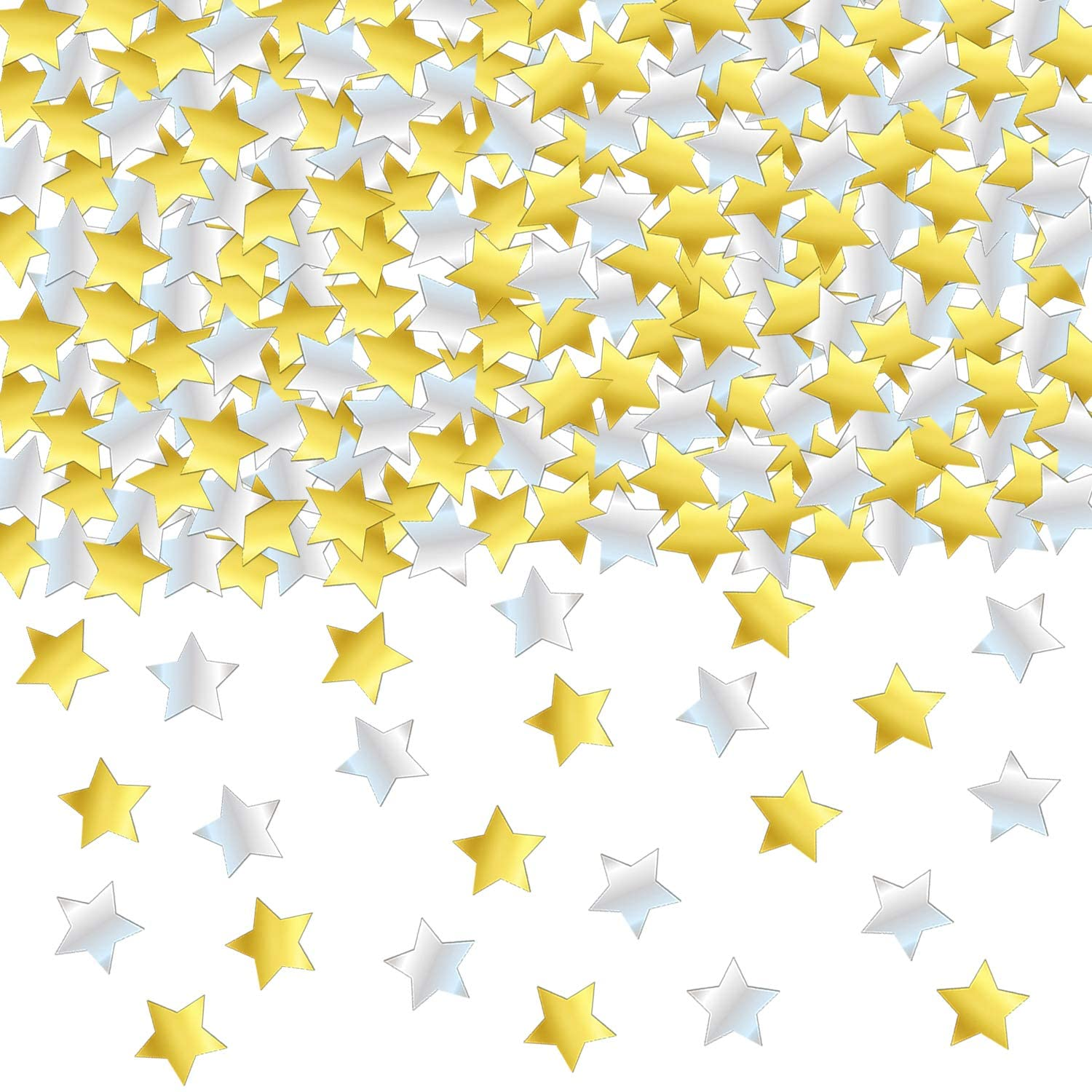 GOLD and SILVER STAR CONFETTI - 1.7 Oz Golden Silver Star Metallic Foil Sequin Confetti for Party   Wedding Decorations   Twinkle Twinkle Little Star Decorations   Adult Birthday Party   Arts Crafting