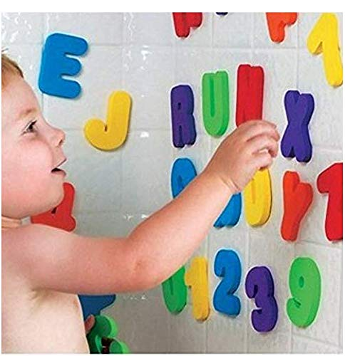 Amandaus 36 Pieces/Set Alphanumeric Letter Puzzle Baby Bath Toys Soft Kids Baby Water Toys for Bathroom Early Educational Suction Up Toy
