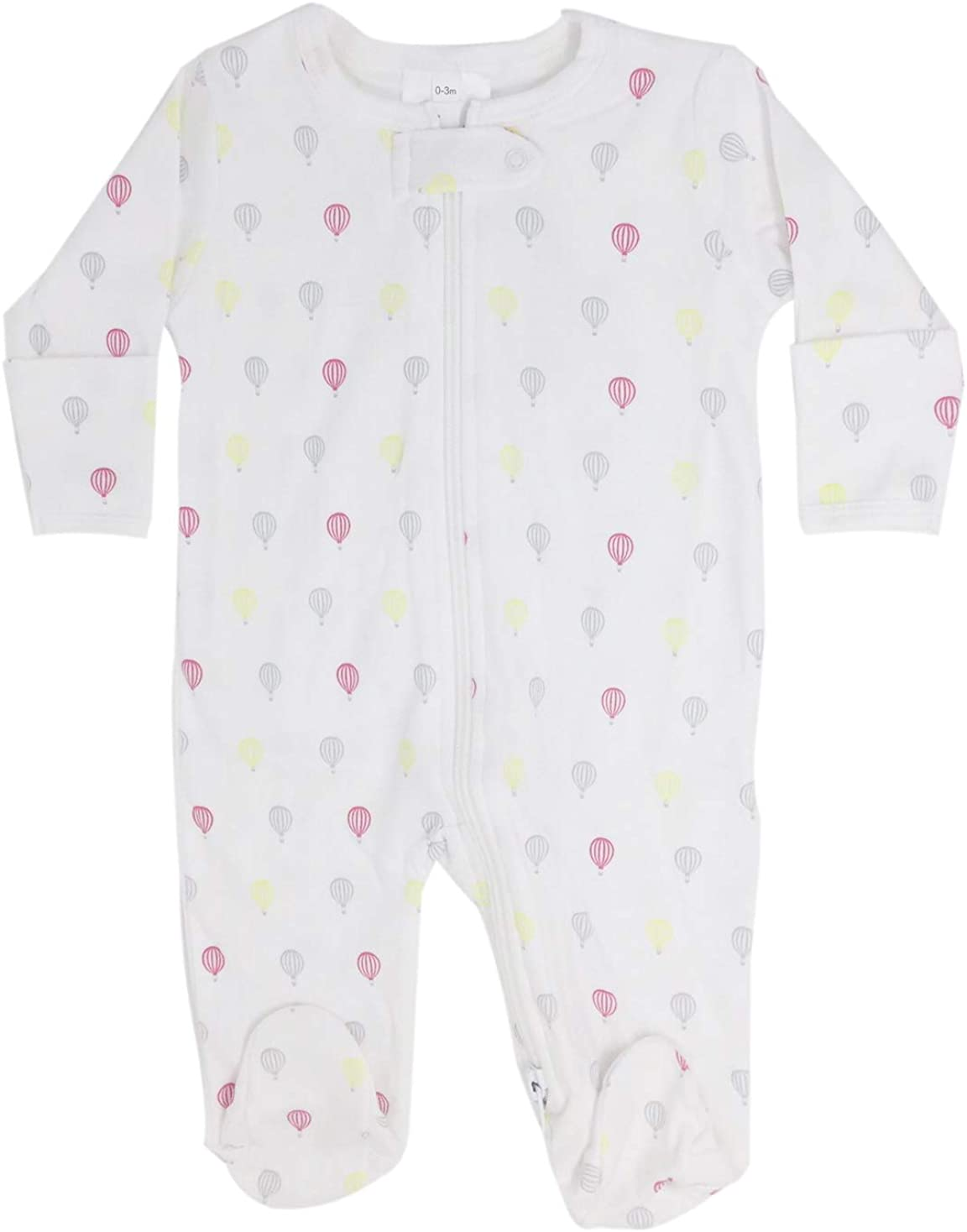 Tiny hot air Balloons Print Zipper Footie Hypoallergenic pima Cotton (White/Pink/Yellow, 0-3 Months)