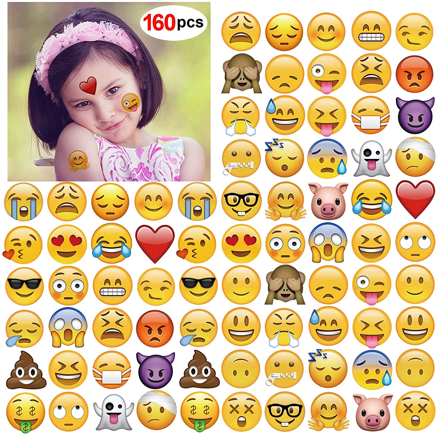 Emoji Temporary Tattoo(160pcs 2inch),Konsait Funny Emoji tattoos Body Stickers for Kids Children Adults for Emoji Party Favors Supplies with Poop Kissing Heart Sunglasses Smirk Relaxed Smile Emoticon