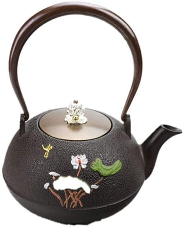 ZXY-NAN Ceramic Healthy Teapot Cast Iron Teapot 1200ml Asian Teapot Pitchers Teapot Japanese Style,Smooth Anti-scalding Handle Design, Black (Color : Black, Size : 1200ml)